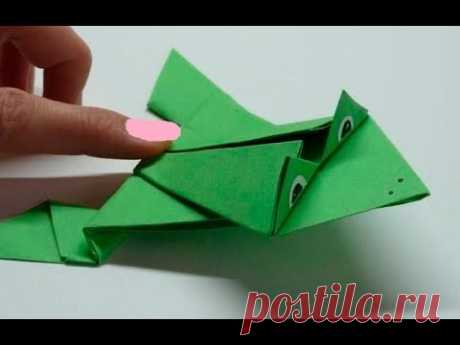 Лягушка - Игрушка из бумаги Поделки Оригами для детей своими руками/как сделать прыгающую лягушку?