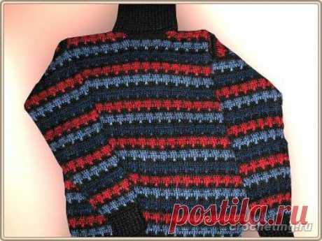 Мужской свитер, вязанный крючком, схема, пример вязания