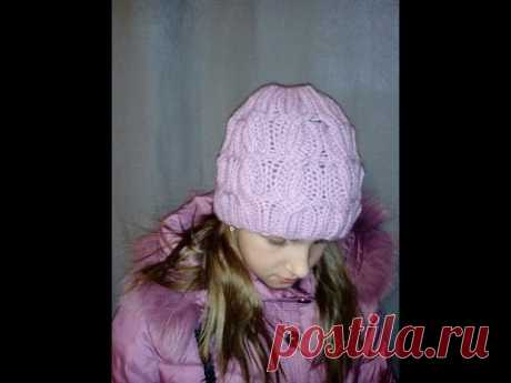 Cap knitted spokes. Interesting pattern