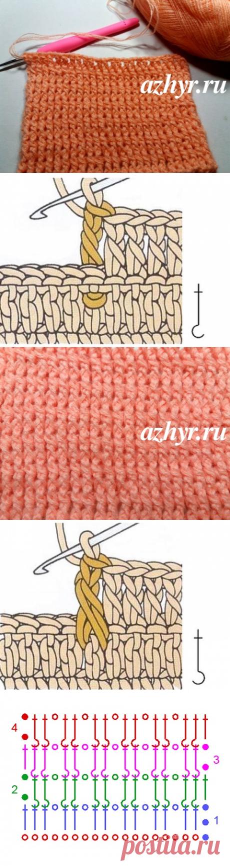 Узор из рельефных столбиков крючком | АЖУР - схемы узоров