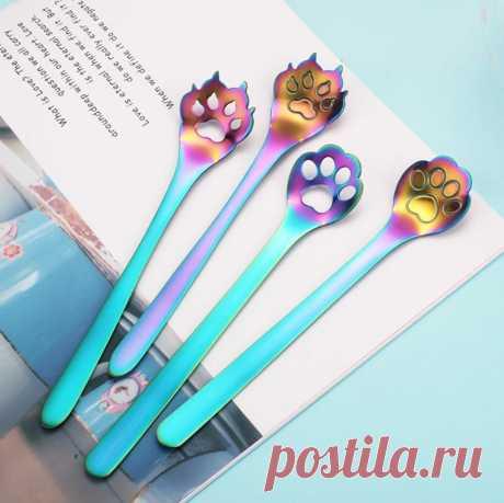 Радужные чайные ложки в виде кошачьих лапок