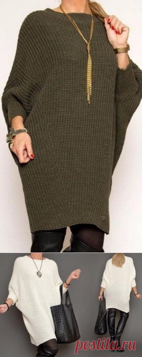 Платье свободного модного силуэта (Вязание спицами) — Журнал Вдохновение Рукодельницы