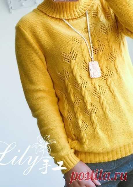 Женский свитер спицами с высоким горлом.