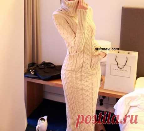 Длинное платье спицами | Вяжем с Лана Ви