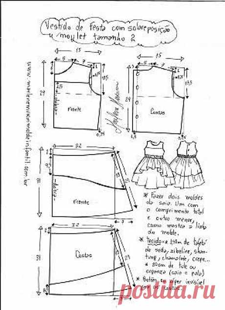 Elegant dress for the girl with an asymmetric hem, patterns from 1 to 14 years (Sewing and a cut) | the Inspiration of the Needlewoman Magazine
