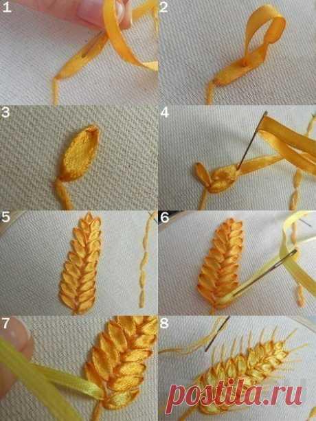Вышивка лентами пшеницы — DIYIdeas