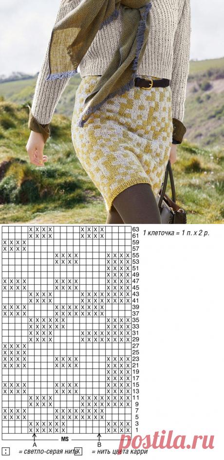 Вяжем юбку в жаккардовой технике   Рукоделие