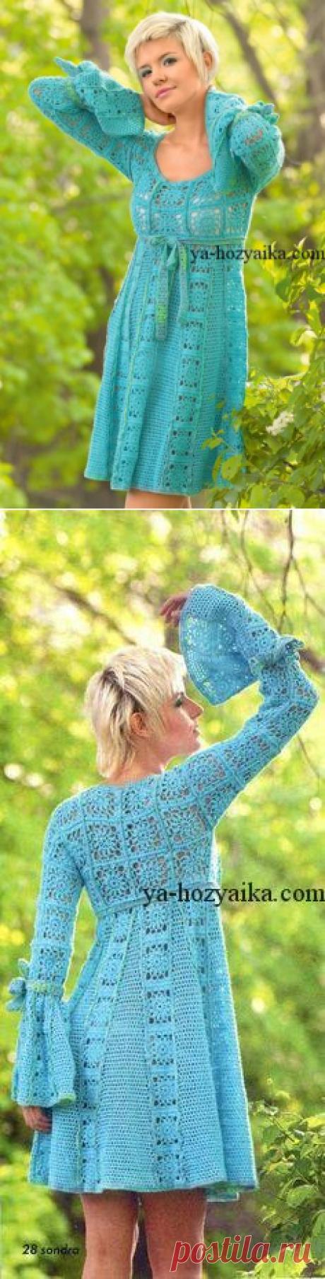 Платье из квадратов крючком. Вязаное платье из мотивов схемы.