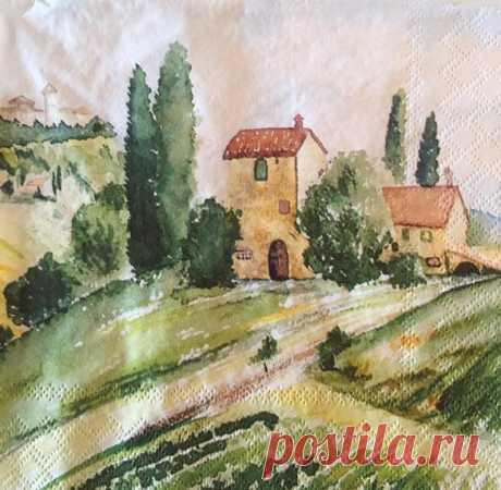 3 Decoupage Napkins Tuscany Italy Watercolor 13 x | Etsy