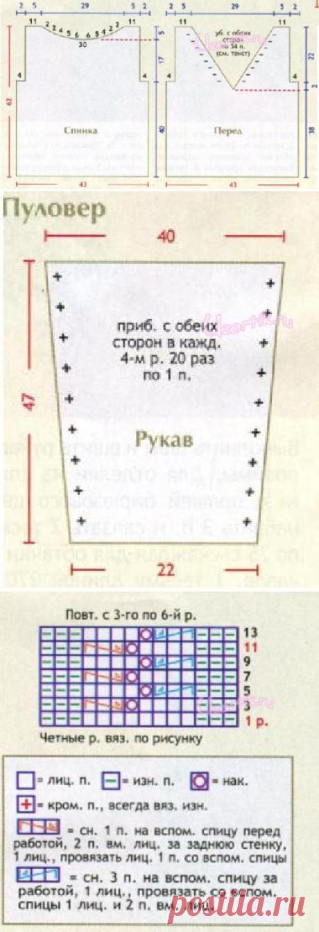 Вязаный пуловер и юбка - Описание вязания, схемы вязания крючком и спицами   Узорчик.ру