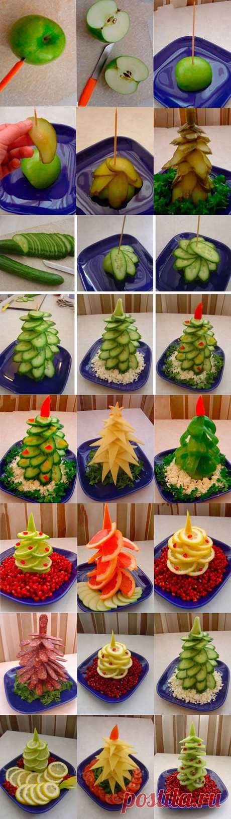 Елочки из овощей и фруктов