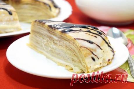 Блинный торт со сгущенкой.
