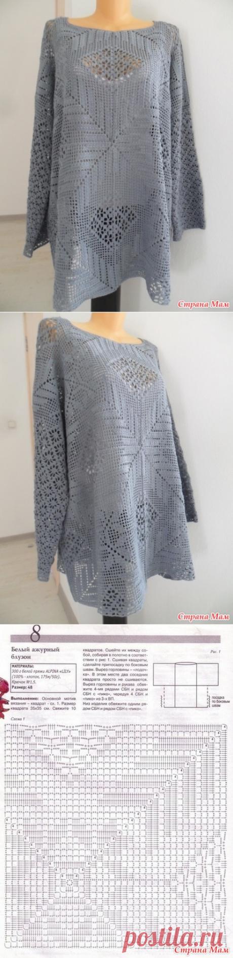 Филейная кофточка для дам роскошных форм - Вязание - Страна Мам