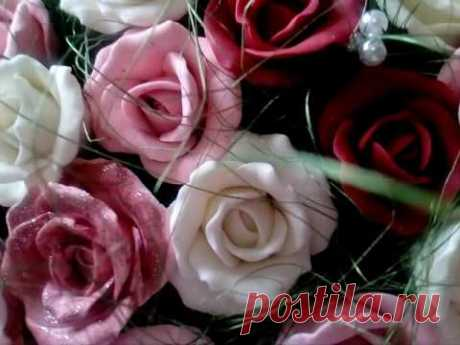 Molding of roses from cold porcelain. Without mold, for beginners
