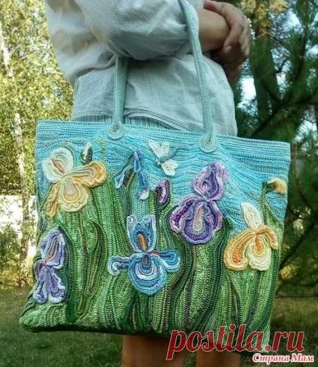 """Я рисую крючком... Летняя сумка """"Цветущие ирисы"""" - Вязание - Страна Мам"""