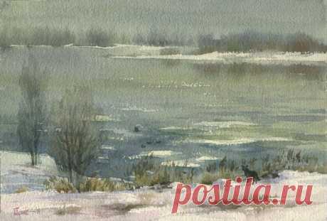 Зима в акварелях Павла Пугачева