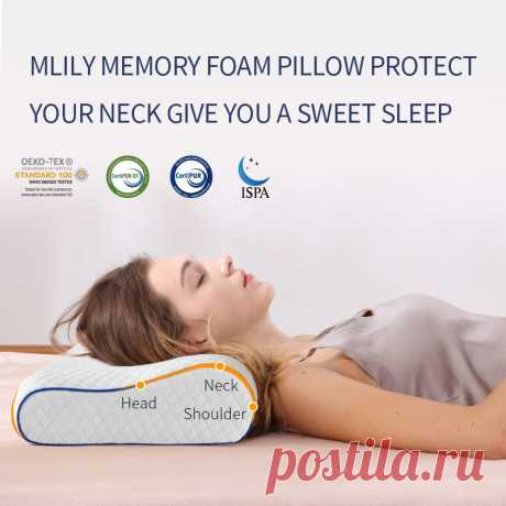 Mlily Ортопедическая подушка для кровати из пены подушка с эффектом памяти для боли в шее Подушка с эффектом памяти для сна размер 60*30 см|Подушки на кровать| | АлиЭкспресс