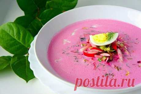 The refreshing summer beet and kefir soup. Fine dietary option Tasty and with a low caloric content!