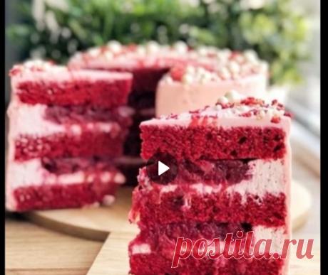 «ВИШНЁВЫЙ БАРХАТ»  Эффектный торт с лёгким шоколадный послевкусием