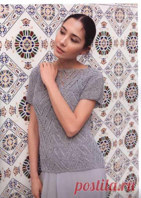 Женская блузка спицами с узором Зиг-Заг - Портал рукоделия и моды