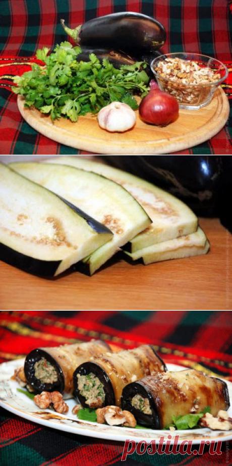 Баклажаны с соусом из грецких орехов — одна из визитных карточек грузинской кухни