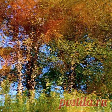 """Невероятные фотографии, которые выглядят как картины. """"Отражения в воде"""" Графический дизайнер Денис Коллетт создал серию снимков под названием «Вода», которая представляет собой коллекцию изображений, на которых запечатлены отражения в озере возле его загородного дома. «Я сделал тысячи фотографий с отражением и все они уникальны. На них видны деревья, полевые цветы и голубое небо. На снимок влияют несколько факторов: ветер, свет, течение и даже уровень воды. Рябь делает эти снимки ун"""