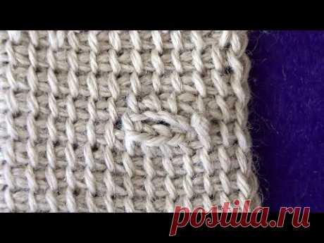Horizontal loop in the Tunisian knitting