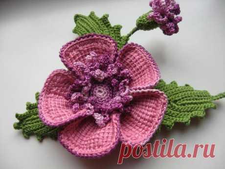 Красивая брошь цветок крючком - мастер класс