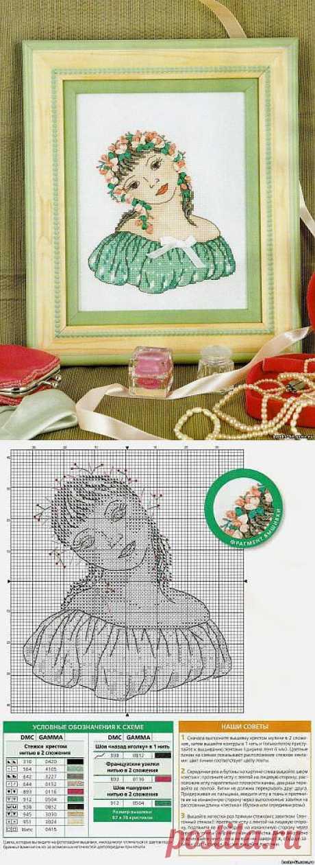 """Простая схема для вышивки """"Незнакомка"""" - Люди - Каталог статей - Бесплатные схемы для вышивки крестом"""