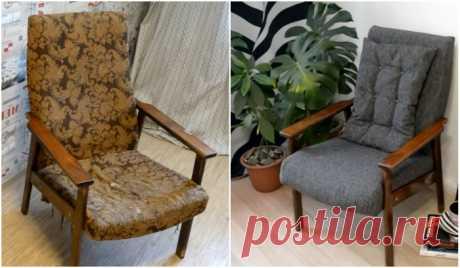Как потрепанное советское кресло превратить в стильный предмет мебели: пошаговая переделка