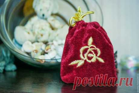 Купить мешочек кисет с вышивкой для бижутерии и мелочей - бордовый, мешочек с вышивкой, сумочка ручной работы