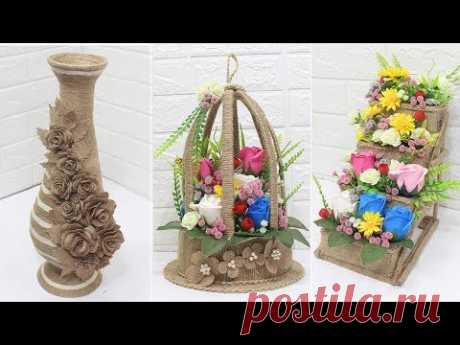 5 Jute craft ideas   Home decorating ideas handmade   #5