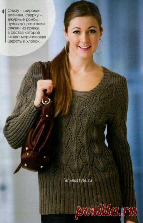 Женский пуловер цвета хаки.