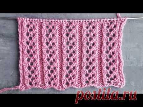 Вертикальные ажурные полосы спицами для вязания шапок, носков, плечевых изделий