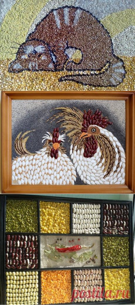 Крупы как материал для рукоделия: что сделать из риса, гречки, перловки, бобовых | Женские увлечения и хобби | Яндекс Дзен