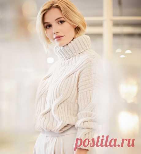 Белый свитер с «косами» из резинки - схема вязания спицами. Вяжем Свитеры на Verena.ru