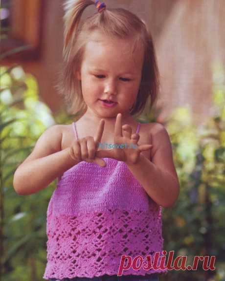 Топ крючком для девочки 2-3 лет - Хитсовет Топ крючком для девочки 2-3 лет. Низкая степень сложности. Для вязания топа крючком для девочки Вам потребуется: