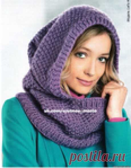 Съемный капюшон-шарф спицами.