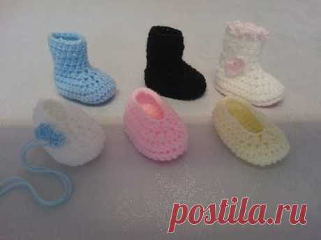 My Easy Crochet 6 in 1 Petite Baby Slippers & Booties inc my Ugg style (3 inches)