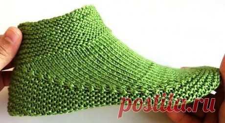 Как связать красивые тапочки на двух спицах, Вязание для женщин