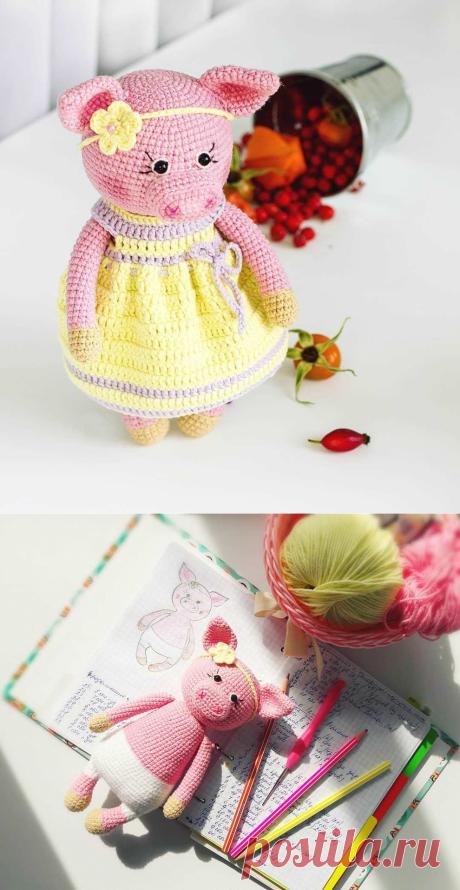 Хрюшенька в платье крючком амигуруми   AmiguRoom