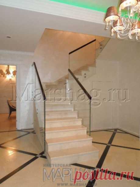 Лестницы, ограждения, перила из стекла, дерева, металла Маршаг – Балюстрада из цельного стекла