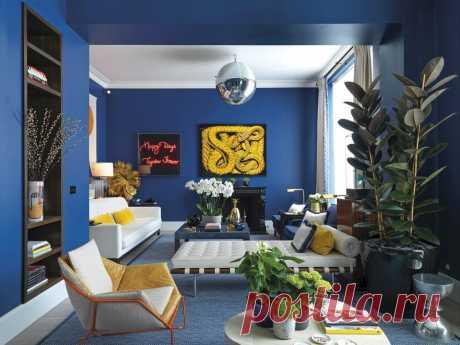 Синий цвет в гостиной: 35+ интерьеров   ELLEDECORATION