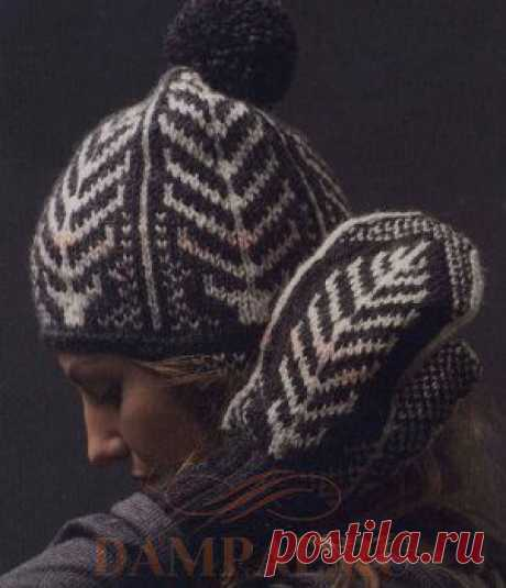 """Knitted cap and mittens with the drawing \""""Feathers\"""" 