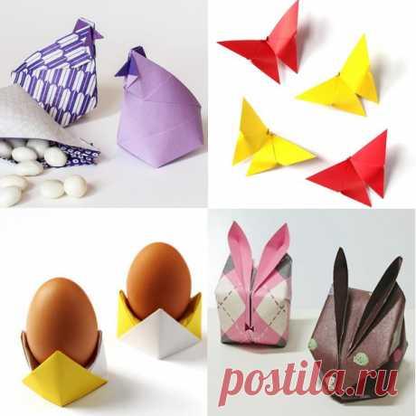 5 потрясающих идей оригами-декора для Пасхи 5 оригинальных идей, как создать пасхальный декор с помощью техники оригами. Цветочки, бабочки, кролики и подставки для яиц! К каждой идее прилагается подробная схема — как это сделать своими руками.