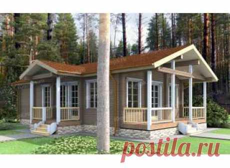 p1059wb – проект одноэтажного дома из клееного бруса с террасой до 80 кв м