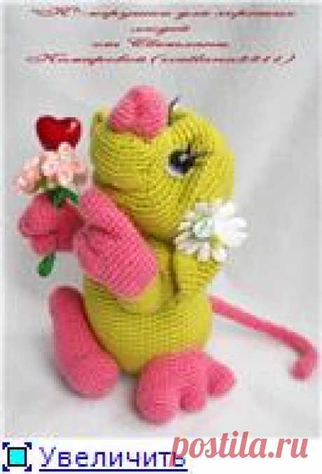 Влюблённая мышь(с описанием) - mmodnaya.ru  Влюблённая мышь. 14 см. Может стоять или висеть на хвостике. Связана из тонкой полушерсти и акрила крючком, есть проволока.