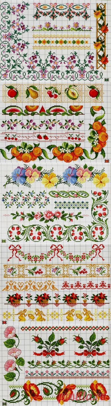 Орнаменты и бордюры, схемы для вышивки крестом. Ornaments & Borders, schemes for cross stitch ~