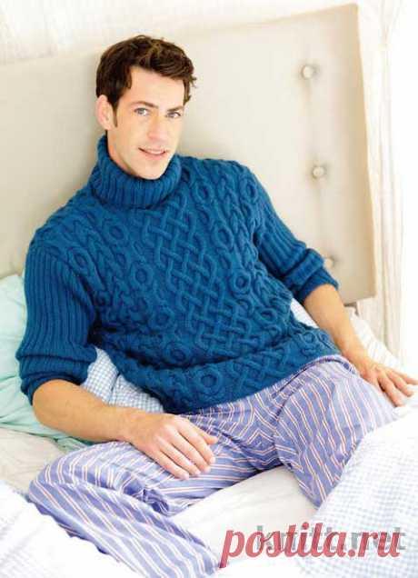 Мужской свитер лазурного цвета