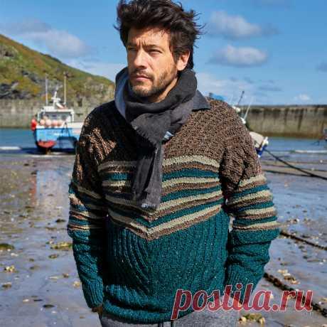 Мужской пуловер с полосками - схема вязания спицами. Вяжем Пуловеры на Verena.ru